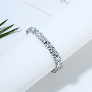 White Square Crystal Bangles Bracelets for Women Women's Bracelet Wedding Silver Color Jewelry