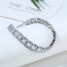 Load image into Gallery viewer, White Square Crystal Bangles Bracelets for Women Women's Bracelet Wedding Silver Color Jewelry