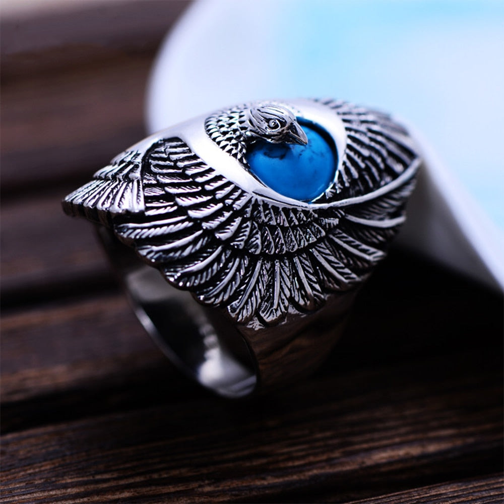 Punk Rock 925 Sterling Silver Ring with Natural Turquoise Hand Carved Eagle Wings Ring