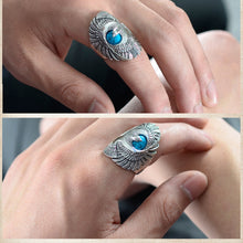Load image into Gallery viewer, Punk Rock 925 Sterling Silver Ring with Natural Turquoise Hand Carved Eagle Wings Ring