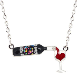 Statement Enamel Floral Red Wine Bottle Glass Necklace Chain Alloy Rhinestone Pendant For Women Girls Party Jewelry Gift