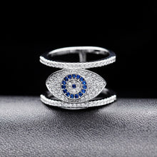 Load image into Gallery viewer, Beautiful Blue Evil Eye Rings for Women Cubic Zirconia Female Ring with an Eye