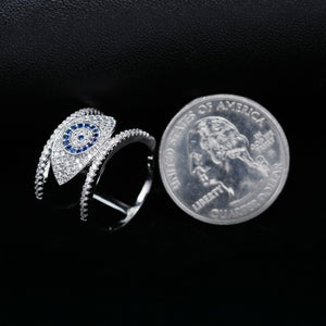 Beautiful Blue Evil Eye Rings for Women Cubic Zirconia Female Ring with an Eye