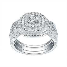 Load image into Gallery viewer, 3Pcs 925 Sterling Silver Wedding Rings For Women 2.1Ct AAA CZ Engagement Ring Set Classic Jewelry Size 5-12