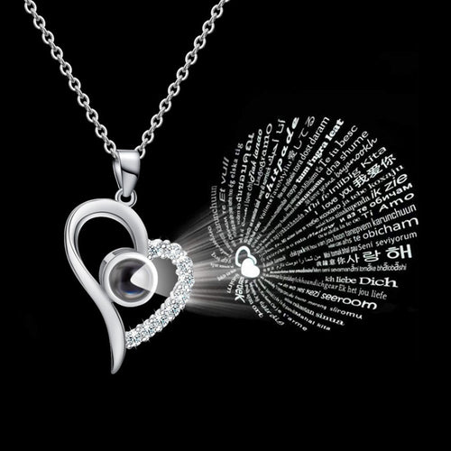 Silver 100 Languages I Love You Projection Pendant Necklace Women CZ Jewelry Stainless Steel Gold Chain Collier Femme