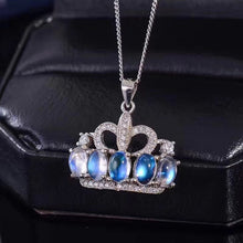 Load image into Gallery viewer, Moonstone Princess Crown Pendant Necklace for Women, 925 Sterling Silver Gemstone Fine Necklace Pendant for Girls FN344