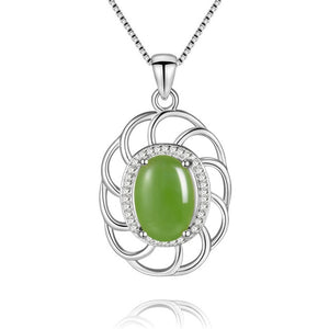 5ct Jasper Gemstone Pendant Necklace Silver 925 Sterling Light Green Zircon Custom Jewelry for Women with Box