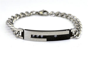 Fashion Stainless Steel Bracelet Cubic Zirconia Bracelets Lovers Valentine'S Day Gifts For Man