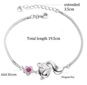 Fox Bracelets for Women Crystal Charms Anime Bracelet Fashion Jewellery Gifts for Girls