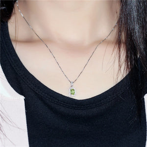 Natural Gemstone Green Peridot Hook Earrings Women Halo Pendant Necklace Pure Silver 925 Fine Jewelry Sets with Box