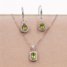 Load image into Gallery viewer, Natural Gemstone Green Peridot Hook Earrings Women Halo Pendant Necklace Pure Silver 925 Fine Jewelry Sets with Box