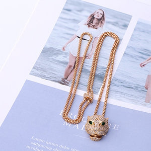 Fashion Jewelry High Quality Leopard Pendant Necklace Long Chain Party Pave CZ Panther Necklace Charm Wedding Gift