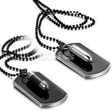 Load image into Gallery viewer, Men Jewelry Army Style Bullet Dog Tag Pendant Man Necklace Black Silver Color 27 inch Chain Unique Design Engrave