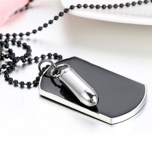 Men Jewelry Army Style Bullet Dog Tag Pendant Man Necklace Black Silver Color 27 inch Chain Unique Design Engrave
