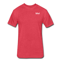Men's Fitted 60/40 Tee - Left Chest Blui Logo 1 - heather red