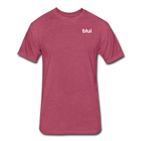 Men's Fitted 60/40 Tee - Left Chest Blui Logo 1 - heather burgundy