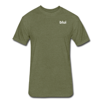 Men's Fitted 60/40 Tee - Left Chest Blui Logo 1 - heather military green