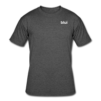Men's 50/50 Tee - Left Chest Blui Logo - heather black