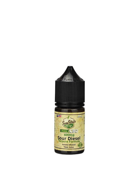 SUN STATE HEMP CBD E-LIQUID SOUR DIESEL VAPE JUICE  600MG - 30ML