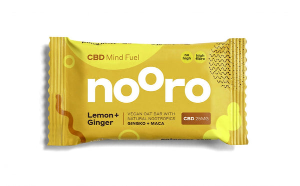 NOORO CBD RAW VEGAN FLAPJACK LEMON & GINGER BAR - 25MG