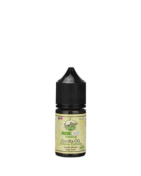 SUN STATE HEMP CBD E-LIQUID GORILLA OG VAPE JUICE 1000MG - 30ML