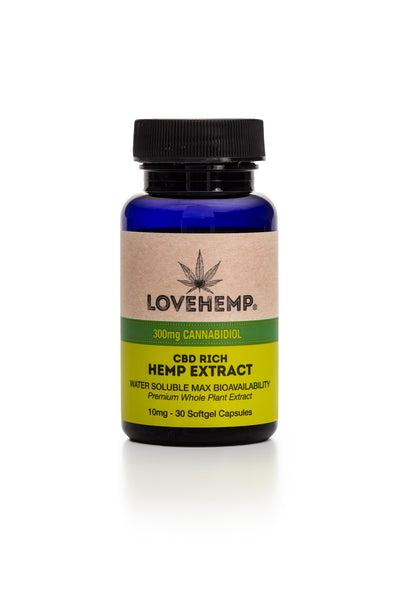 LOVE HEMP CBD SOFTGEL CAPSULES 300MG - JAR OF 30