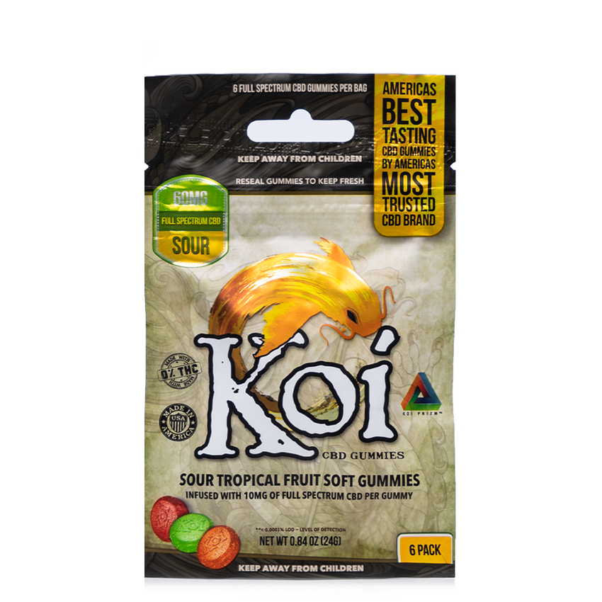 KOI CBD TROPICAL FRUIT SOUR SOFT GUMMIES 60MG - 6PCS