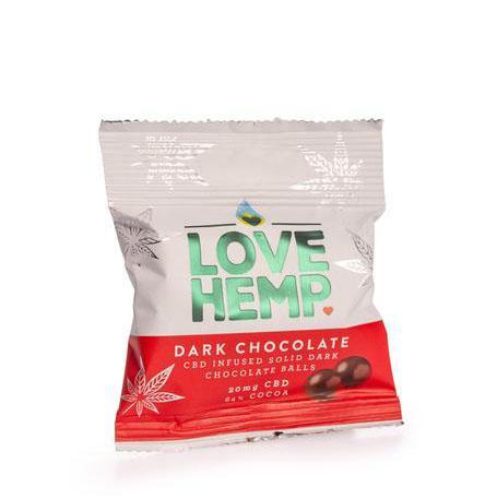 LOVE HEMP CBD INFUSED DARK CHOCOLATE BALLS 20MG - 50G