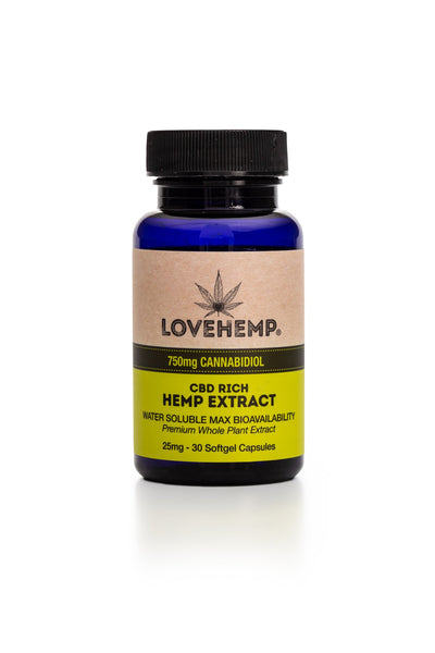 LOVE HEMP CBD SOFGEL CAPSULES 750MG - JAR OF 30