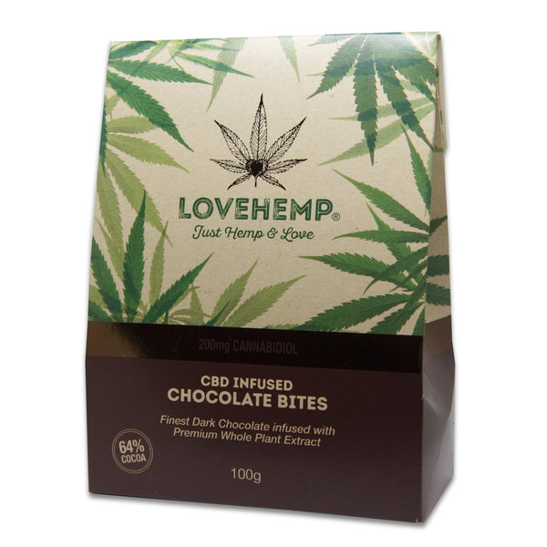 LOVE HEMP CBD CHOCOLATE BITES 200MG - 100G