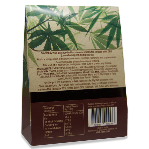 LOVE HEMP CBD CHOCOLATE MALT BITES 200MG - 100G