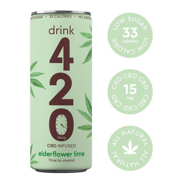 DRINK 420 CBD INFUSED ELDERFLOWER & LIME JUICE 15MG - CASE OF 12