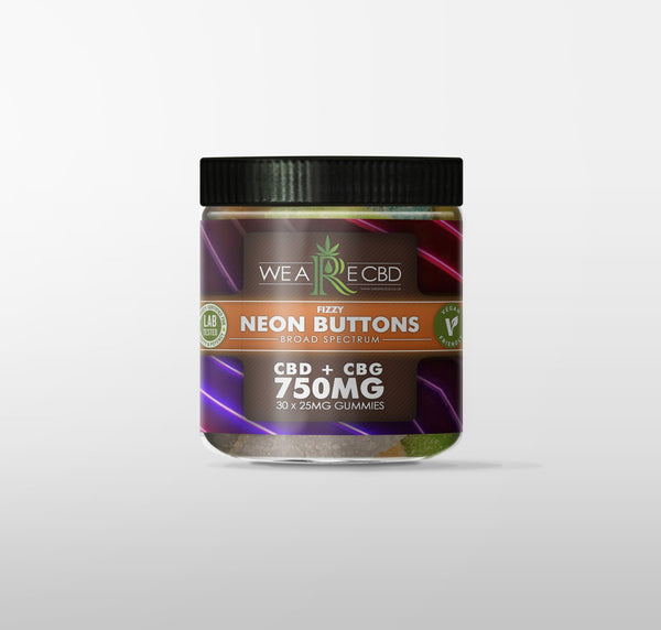 WE ARE CBD VEGAN GUMMIES NEON BUTTONS  - 750MG