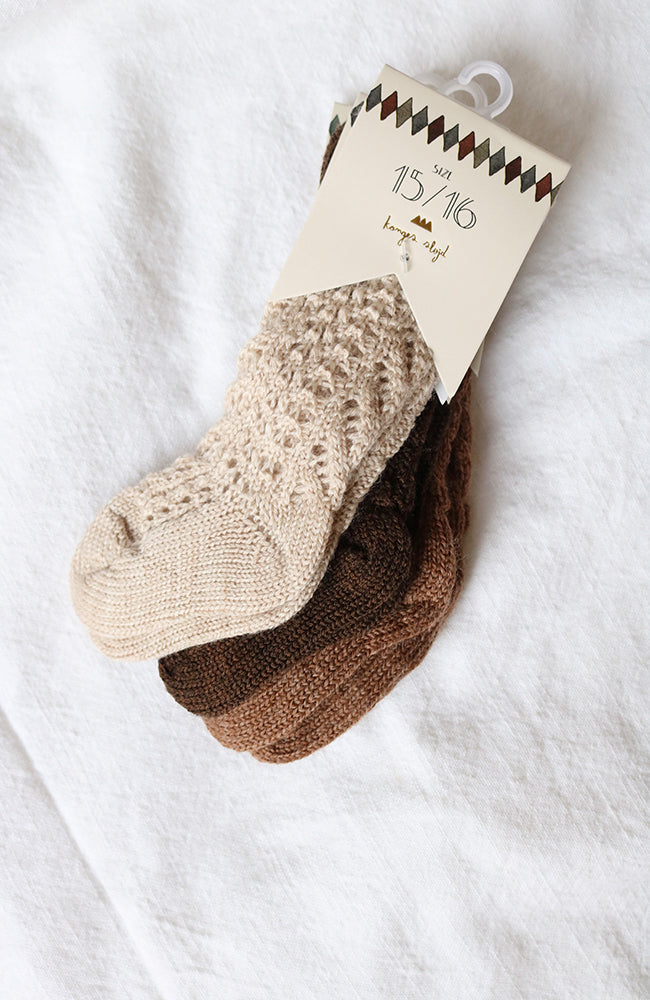 Wool Pointelle Sock - Creamy White