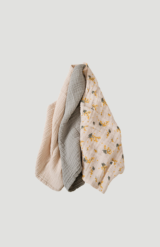 Muslin Burp Cloths 3-Pack - Mimosa