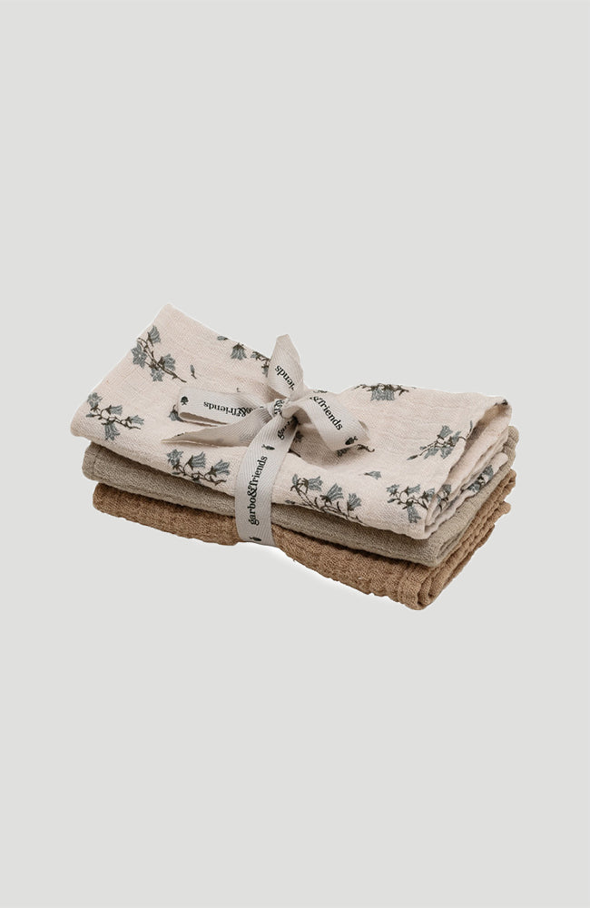 Muslin Burp Cloths 3-Pack - Bluebell