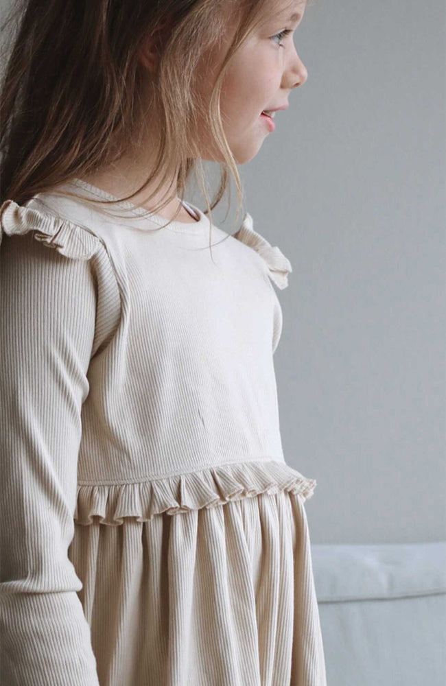 Ribbed Ruffle Dress - Oatmeal