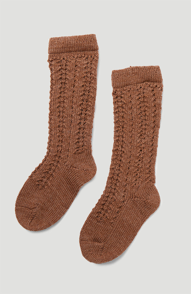 Wool Pointelle Sock - Almond