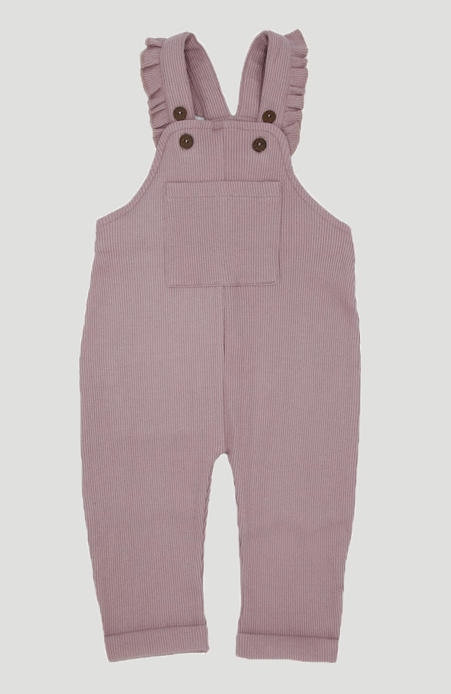 Ribbed Dungarees Frills - Dusty Purple
