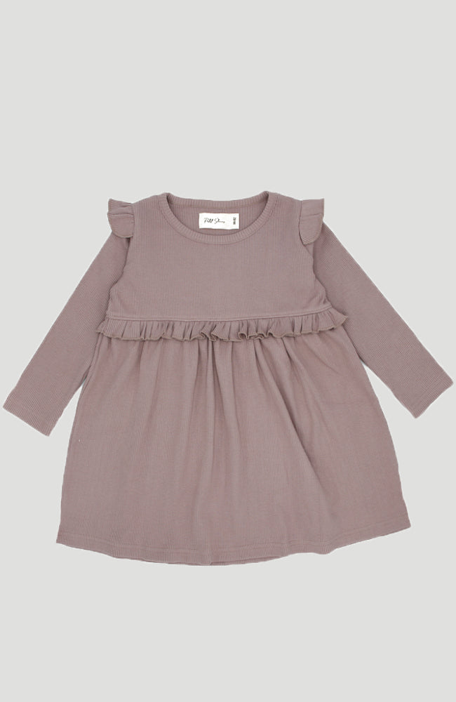 Ribbed Ruffle Dress - Dusty Purple