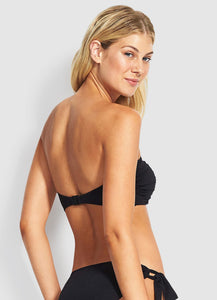 Seafolly Ruched Bandeau Bikini Top (Black) and (Chilli)
