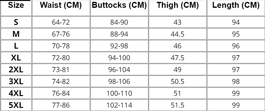 Womens Leggings Size Chart