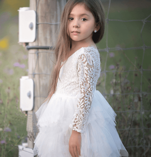 Autumn and winter explosions hollow children's skirt lace long-sleeved girls white princess dress irregular dress - primeroar