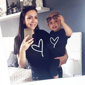 1pcs Mommy and Me Heart Print Matching T Shirt Mom and Son Daughter Family Clothes Besties Mama and Kids Family Look Outfits - primeroar