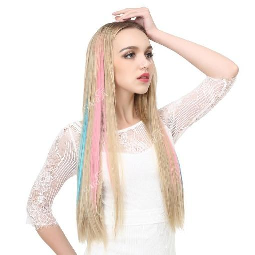 2020 Glamorous High Quality Reusable New Colored Hair Extensions Clip Women - primeroar
