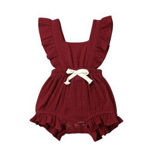 Lotus leaf lace sleeve bow baby dress - primeroar