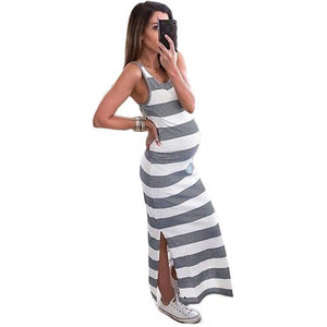 Striped Maternity Long Dress - primeroar