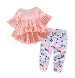 Toddler Kids Baby Girls Outfits Clothes Sets Cotton T-shirt Top Short Sleeve Pants Flower 2PCS Clothing Set - primeroar