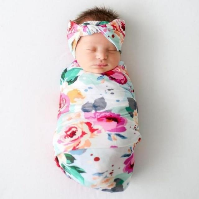 Swaddle Wraps Blanket Newborns Baby Girl Floral With Headband Cotton Wrapper New