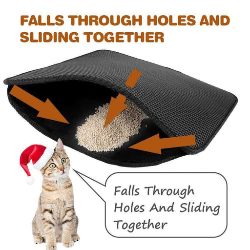Exclusive Dual Layer Waterproof Large Cat Litter Mat Trapper For Cats Households Cleaning Products  Larger Holes With Urine Pad ( Black Gray Color) - primeroar